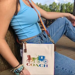 🔥COACH🔥Jes Slim Crossbody Rainbow Horse Carriage